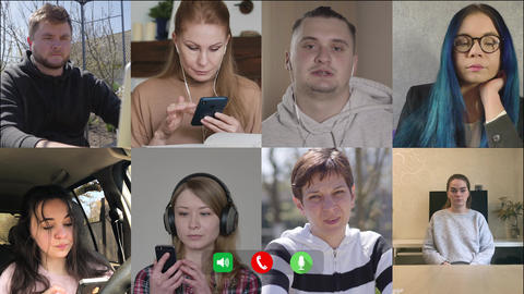 Multiscreen, eight coworkers chatting online. Young Caucasian man talking as Live Action