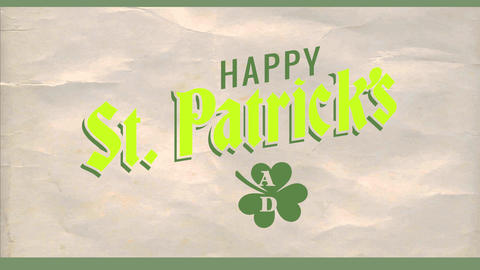 happy st patricks day advertisement with good luck green shamrock and over old paper texture Animation