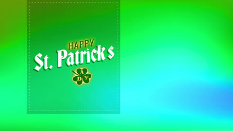 joyful st patricks day written on a green trimming layer with lucky clover drawing representing Animation