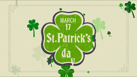 vacation date memorial with march 17 st patricks day written internal four sprout clover graphic Animation