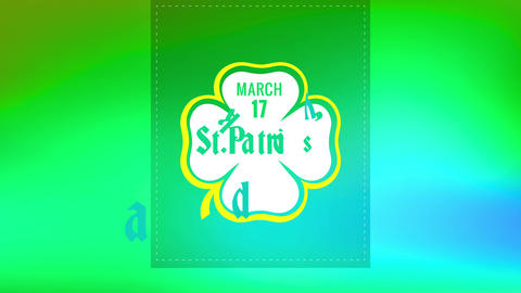 happy st patricks day motif with letters inside clover over border with cutting lines on soft green Animation