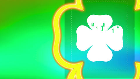 laughing st patricks day motif with writing internal clover over boundary with carving lines on Animation
