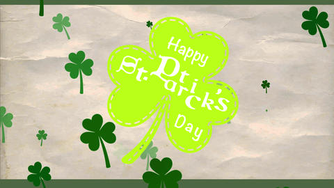 cheerful st patricks day green clover for trimming drawn up creased paper texture background with Animation
