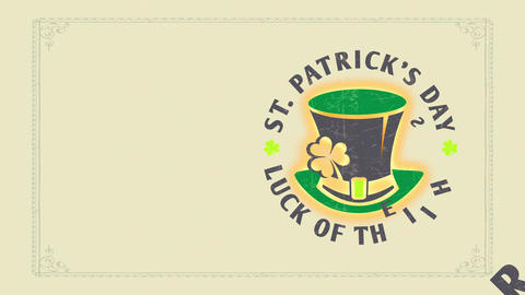 st patricks day chance of the english written with old-fashioned celtic font around leprechaun cap Animation