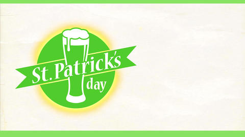 st patricks day written on a green visual with a beer glass over ragged scene for celebration invite Animation