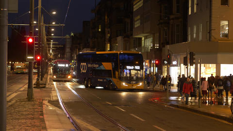 Public transportation in Edinburgh at night Live Action