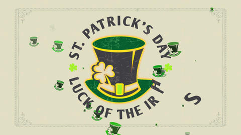 st patricks day fortune of the english written with antique celtic font surrounding dwarf cap Animation