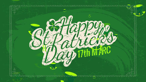 relaxed st patricks day date invitation written on a green blackboard with distressed offset and a Animation