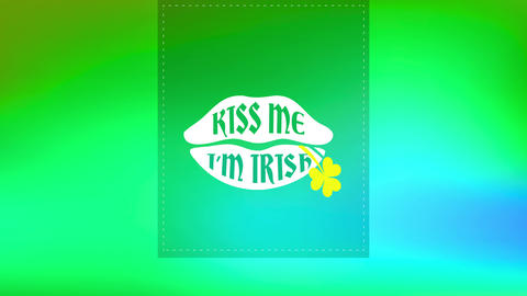 st patricks day clipping with words inside luscious lips saying kiss me im irish with a clover over Animation