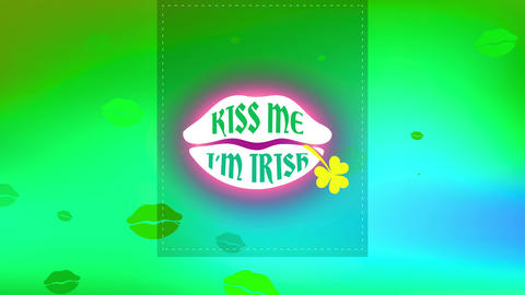 st patricks day clipping with words indoor luscious mouth saying kiss me im whiskey with a clover Animation