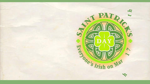 cheerful saint patricks day march 17 celebration invite with celtic style shamrock on crumpled Animation