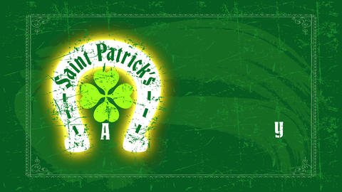 st patricks day motif with a horseshoe and a clover representing whiskey fate on a green blackboard Animation