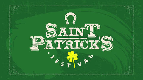 saint patricks day festival billboard print for holiday advertisement with faded color and a clover Animation