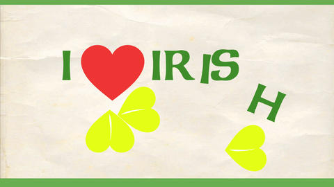i love irish on wrinkled paper background for st patricks day celebration with heart and clover Animation