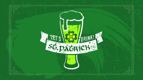 irish beer party invitation for st patricks day with pilsner glass overflowing with foam over Animation