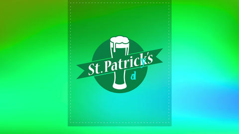 st patricks day beer presentation with dotted lines for trimming and pilsner glass overflowing with Animation