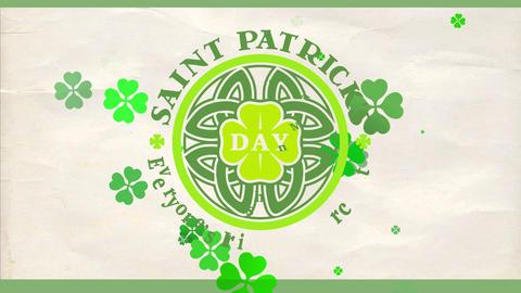 joyful saint patricks day march 17 celebration invite with celtic style shamrock on wrinkled Animation