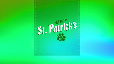 happy st patricks day written on a green trimming layer with lucky clover drawing representing Animation