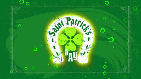 st patricks day motif with a horseshoe and a clover representing whiskey luck on a green blackboard Animation