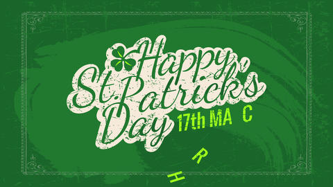 cool st patricks day date invitation written on a green chalkboard with distressed typography and a Animation