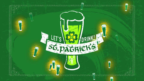 english brew banquet invitation for st patricks day with brew glassware flooding with foam over Animation