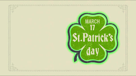 vacation date memo with march 17 st patricks day written internal 4 sprout clover graphical Animation