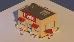 Low Poly Cafe 3D Model