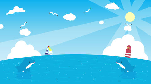 イルカがジャンプするアニメーション CG動画