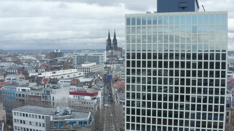 AERIAL: Wide Shot of Cologne Germany from the air with majestic Cathedral and Live Action