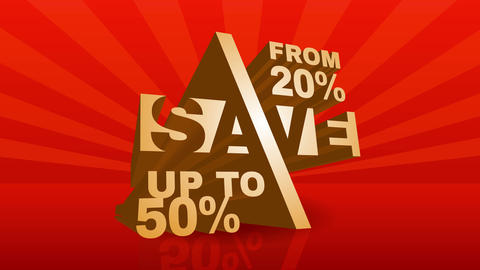 big sale discount ad for commerce business with metallic geometric numbers and letters over shiny Animation
