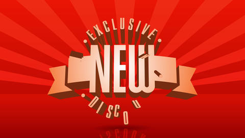 exclusive new discount big lettering reflecting on red background for sale event from commercial Animation