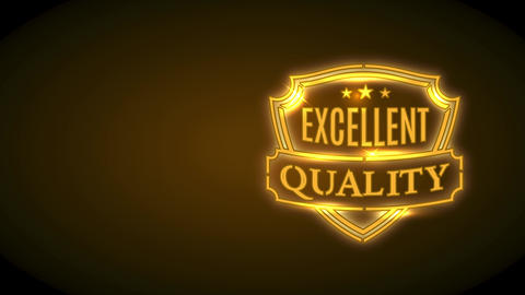 excellent value brand promotion with gold neon shield shape with sparkles and medal over black scene Animation