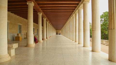 Inside the reconstructed Stoa of Attalos, Museum of Ancient Agora in Athens Footage