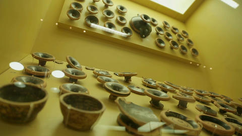 Collection of voting ostraca on display of Agora Museum, ancient pottery shards Footage