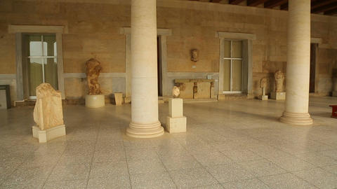 Panorama view inside restored Stoa of Attalos, Ancient Agora, archeology museum Footage