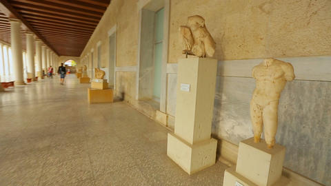 Point of view of tourist looking at ancient marble statues at history museum Footage