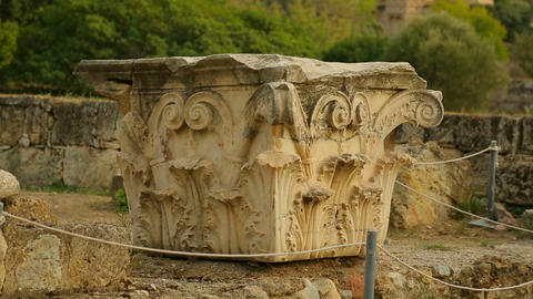 Remains of column capital decorated with sophisticated moulding, architecture Footage