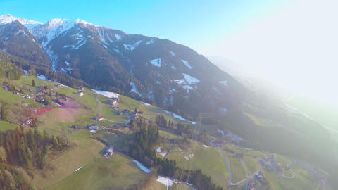 Vertical panorama of beautiful mountain landscape, green nature, sunny day Footage