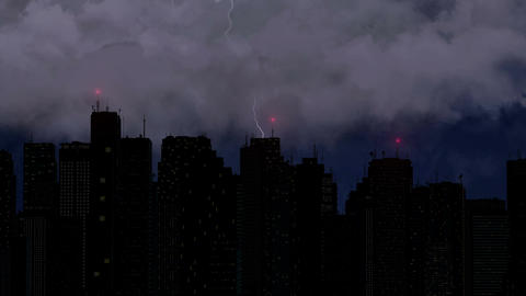 Violent thunderstorm breaks over megalopolis at night, lightning bolt with sound Footage