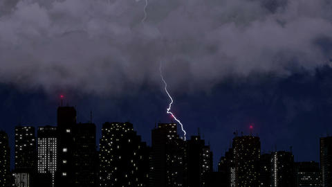Lightning strikes above skyscrapers, dramatic thunder clashes during rainstorm Footage