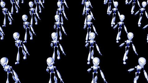 bot army goes forward,loop,Alpha Channel Animation