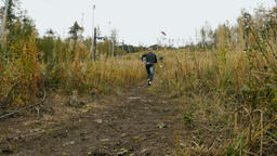 athlete skyrunning running uphill Footage