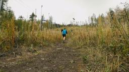 man athlete skyrunning running uphill Footage