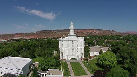 Aerial St George Utah LDS Mormon Temple tilt up HD 033 Footage