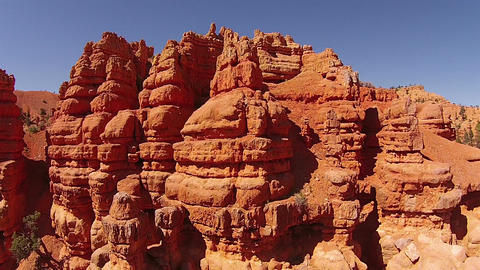 Aerial fly around beautiful red rock erosion mountain Utah HD 112 Footage