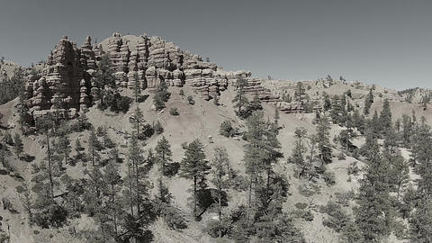 Aerial rugged southern Utah mountain Black White HD 107 Footage
