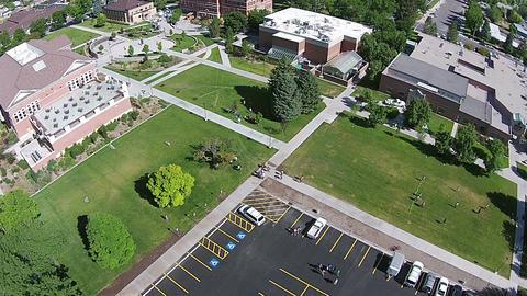 Aerial students Snow College Ephraim Utah HD 099 Footage