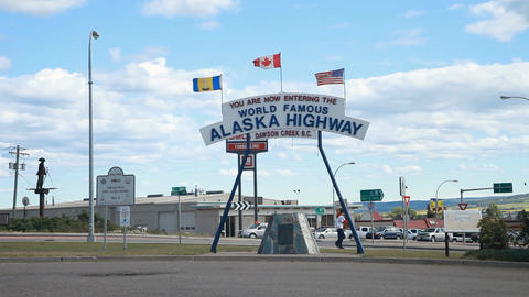 Alaska Highway sign Dawson Creek P HD 7677 Footage