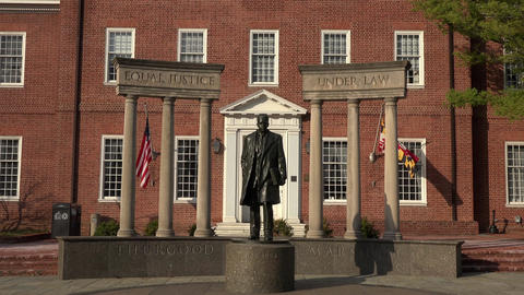 Annapolis Maryland State Court historical Thurgood Marshall statue 4K 064 Footage