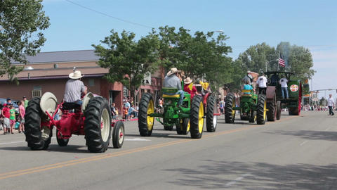 Antique old farm tractors rural community parade HD 8536 Footage